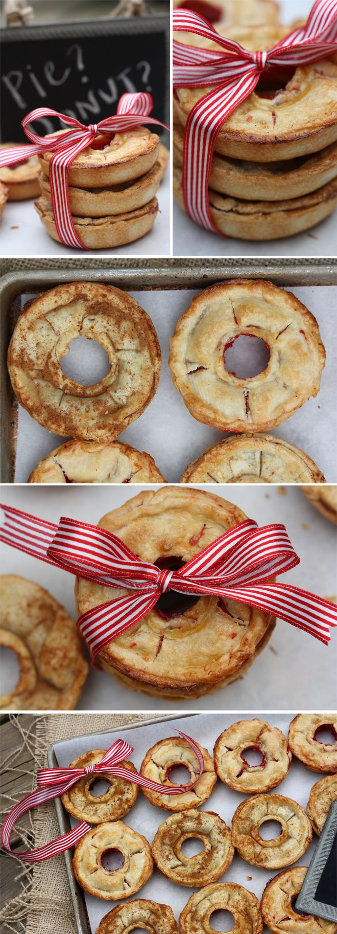 Donut-Shaped Pies!! Aren't these cool? Love the little bowed bundles, what wonderful gifts.