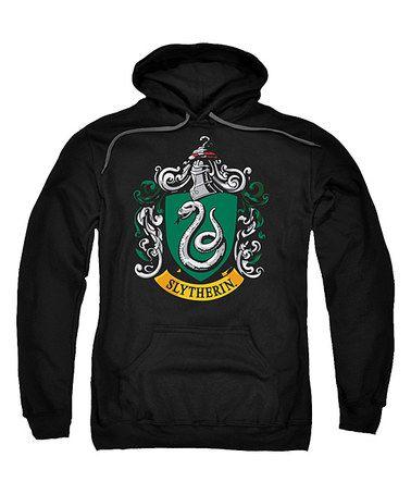 Loving this Black Slytherin Crest Pull-Over Hoodie - Men's Regular on #zulily! #zulilyfinds