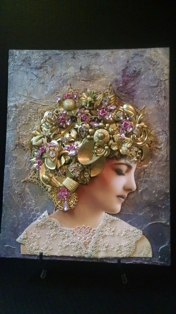 Picture,Victorian Woman, Canvas,Vintage Jewelry, Pink, Rhinestone, Lace, Rose, Gift, Present