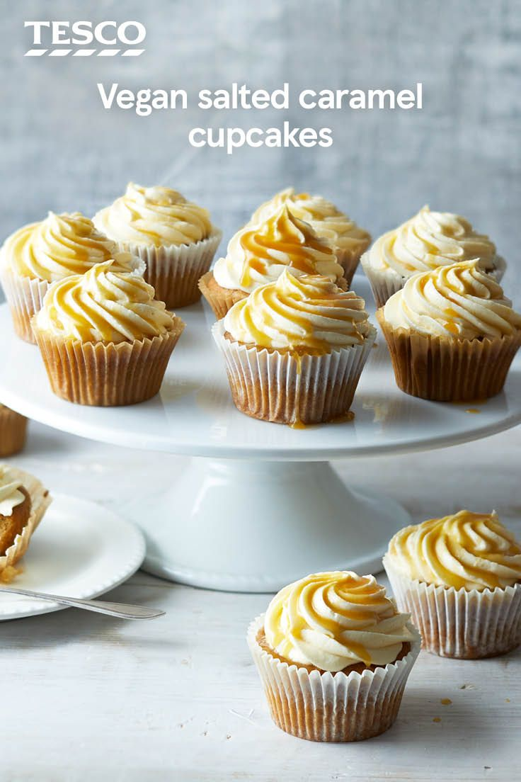 You can have your cake (and eat it, too) with this delicious vegan cupcakes recipe. With a hidden centre of vegan salted caramel and a swirl of caramel icing, these gorgeous cakes are sweet, sticky and definitely moreish. | Tesco