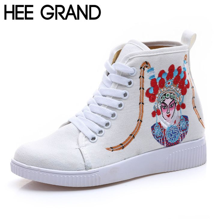 HEE GRAND Woman Canvas Shoes Chinese Ethnic Style Rubber Ankle Woman Flats Spring Embroidered Lace up Shoes Woman XWD5131