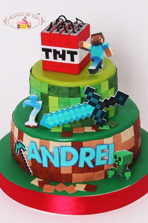 Tort Minecraft pentru Andrei   Tort minecraft, Tort, Minecraft