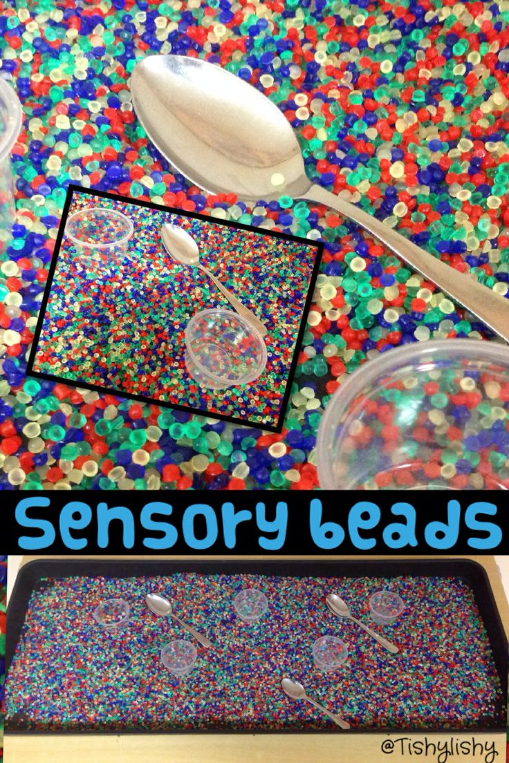 Sensory beads in the tray. I need colourful bowls, shot glasses, coloured spoons, funnels. Eric Carle illustrations. (Thanks to #eyfstwitterpals for inspiration)