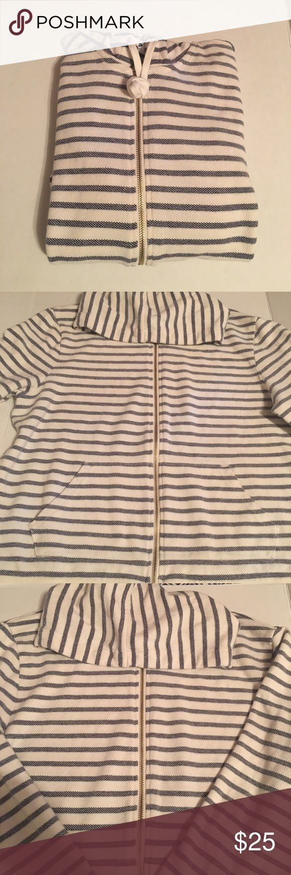 NWOT Old Navy White and Blue Striped Zip Up Size X- Large Cotton Blend Zip Up Hoodie Old Navy Sweaters