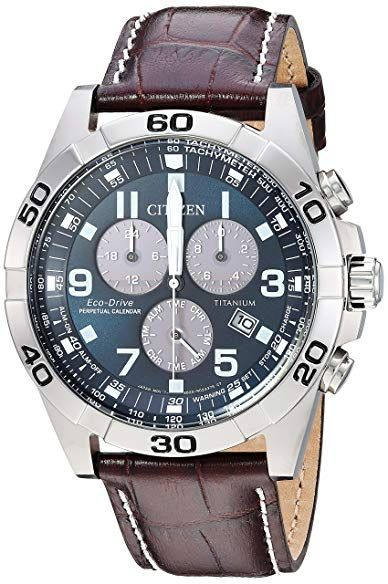 4e681f719e2 Citizen Men s  Eco-Drive  Quartz Titanium and Leather Casual Watch ...