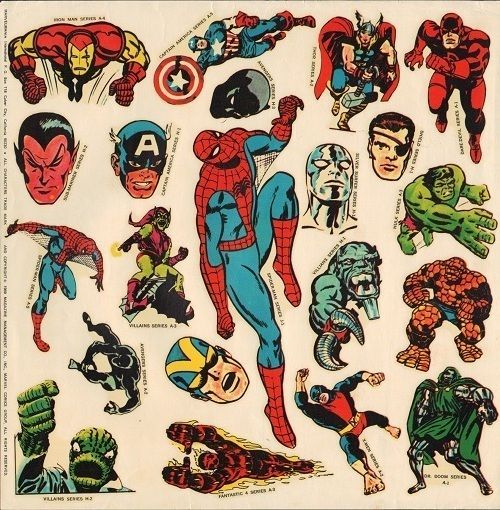 1969 marvelmania international club mail premium spider man sticker sheet