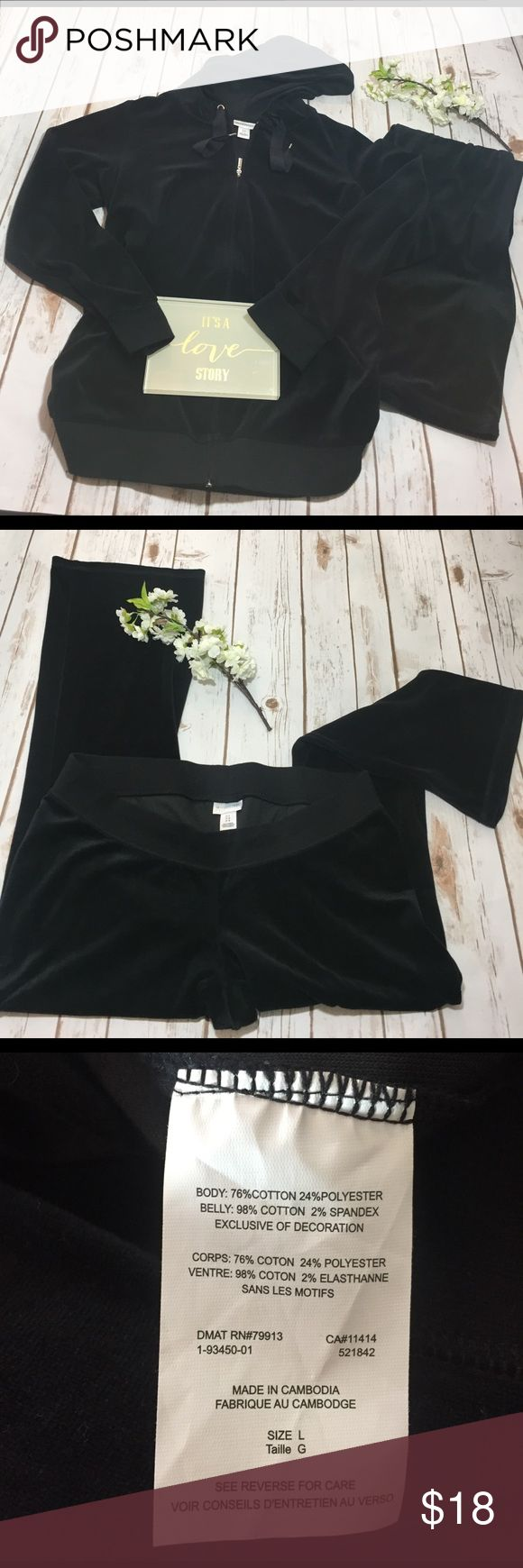 Motherhood Maternity black hoodie and pant set Has the soft velour feeling on the set, top zips up with a hoodie, ruched on sides for extra comfort, bottoms dip lower on the waist for more room for tummy, great condition Motherhood Maternity Intimates & Sleepwear