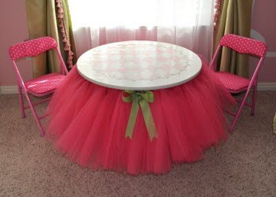 cute decoration for the tables for the tea party! Round tablecloth add tulle and ribbon tie bow, then make covers for chairs. Just lay over table whenever you and your little ones wish to have a Tea Party or Pretend Princess Luncheon..Do in your angels favorite colors.