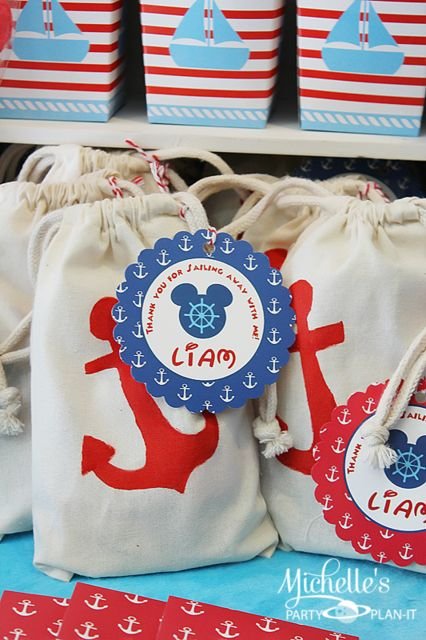 Favors at a Nautical Mickey Mouse Party #nautical #mickeymouse: Mickey Mouse Birthday, Birthday Parties, Parties Favors, 1St Birthday, Nautical Mickey, Favors Bags, Parties Ideas, Michelle Parties, Birthday Ideas