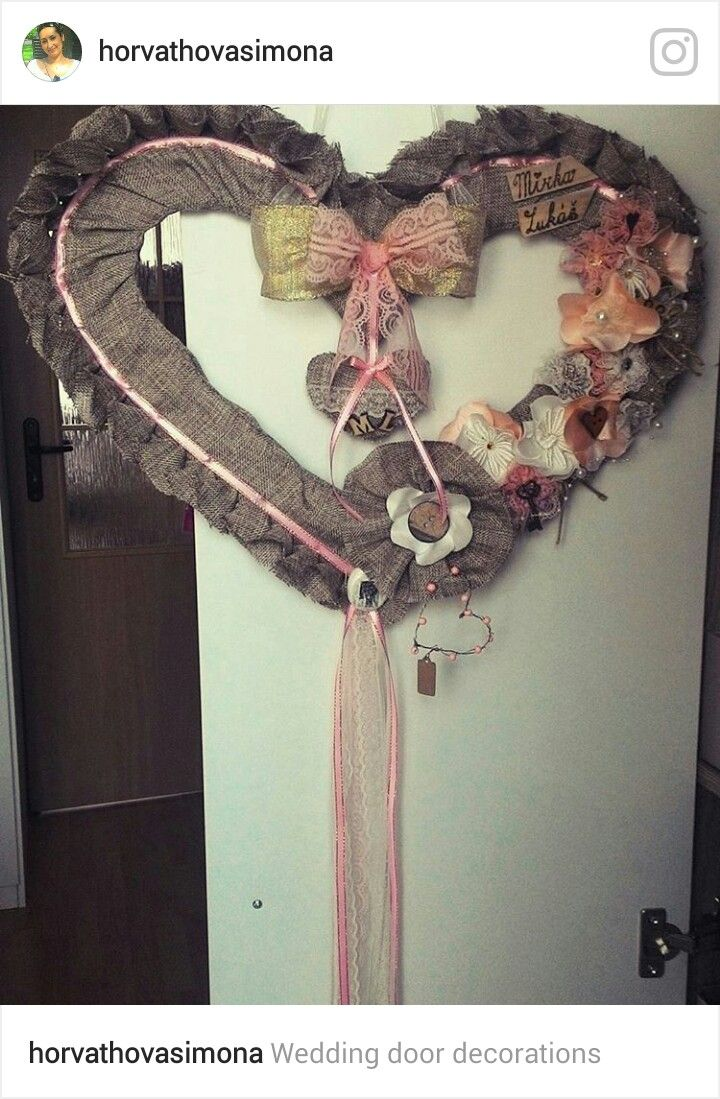 Wedding door decorations, wedding heart, sewing heart, natural heart, brown, pink and white heart, svadobne srdce na dvere