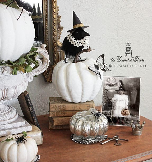 halloween decorating in black and white the decorated house crows with hats