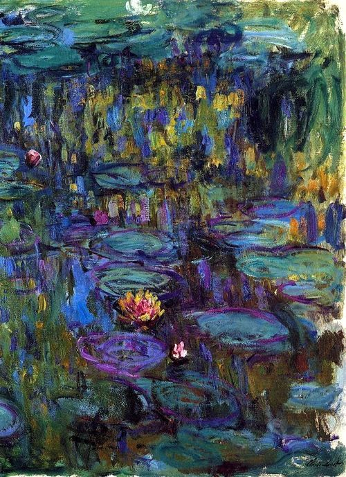 Claude Monet ~ Water lilies.   Larger: http://alongtimealone.tumblr.com/post/53869409405/bofransson-water-lilies-claude-monet .   Art board:  www.pinterest.com/captainkdog/artists-that-inspire/