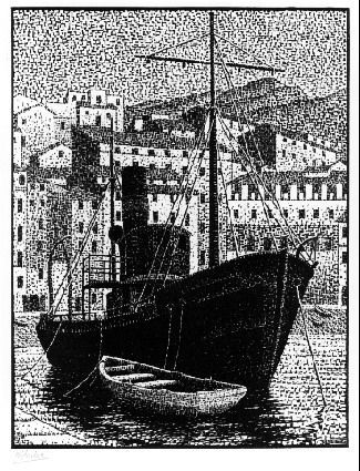 """M. C. Escher- """"Tugboat (Old Harbour of Bastia, Corsica)""""- January 1934, Wood engraving."""