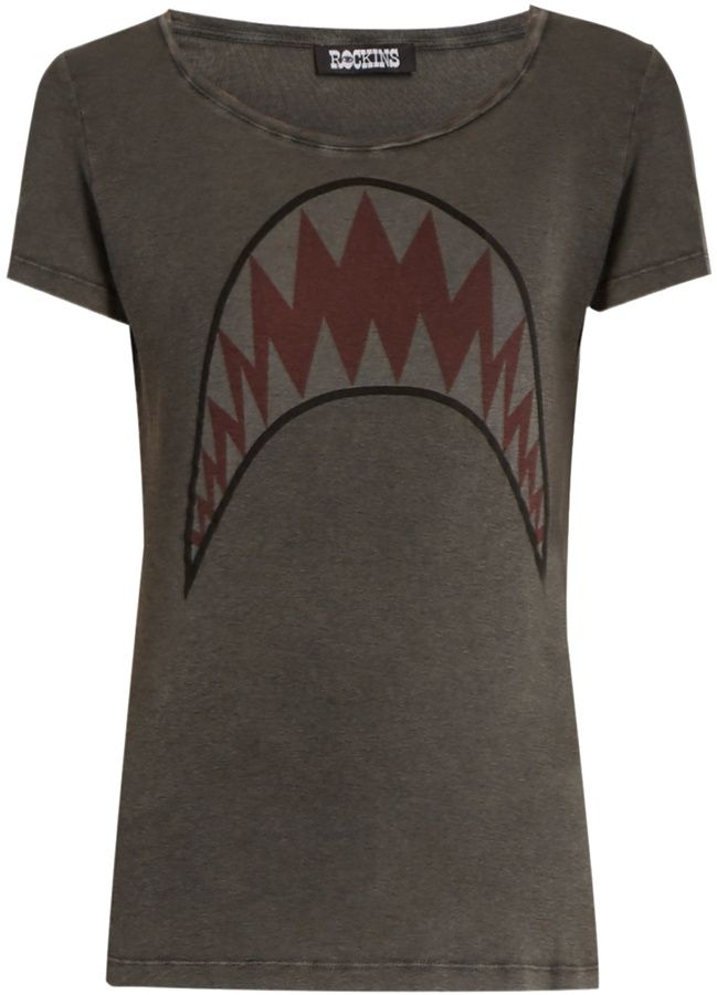 ROCKINS Shark-print short-sleeved cotton T-shirt