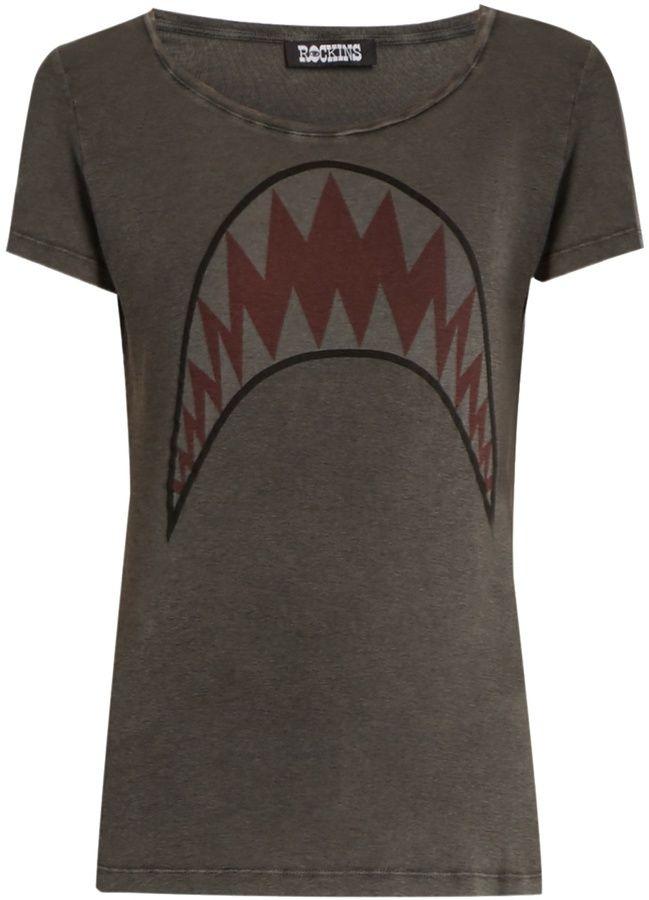 ROCKINS Shark-print short-sleeved cotton T-shirt