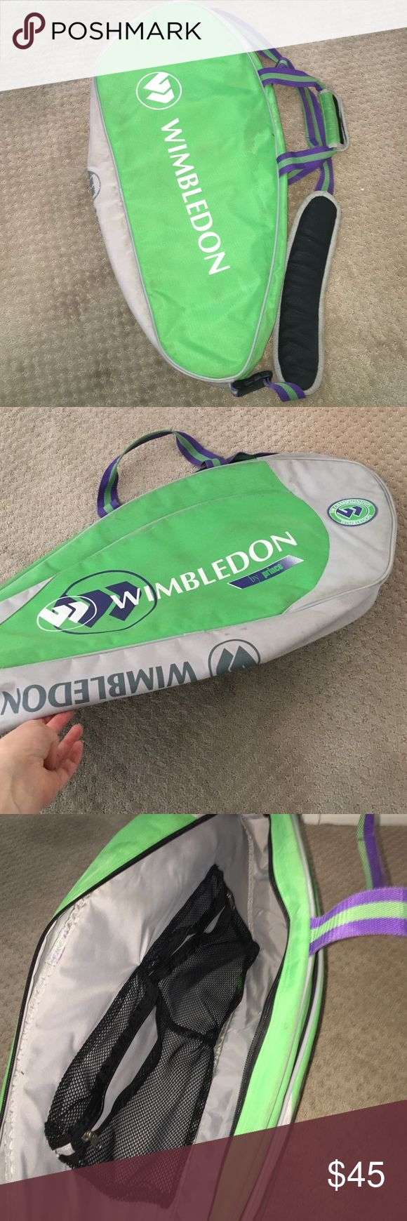 Wimbledon tennis bag! Bought at Wimbledon authentic Wimbledon by prince tennis bag! Lime green, purple and grey! A little dirty but in great condition! Very rare tennis bag! Bags
