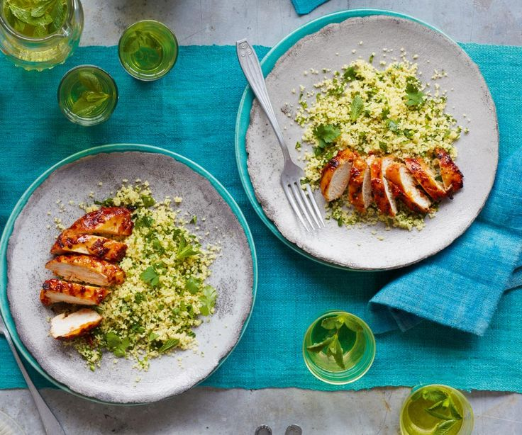 A richly spiced Moroccan inspired chicken recipe with green couscous.