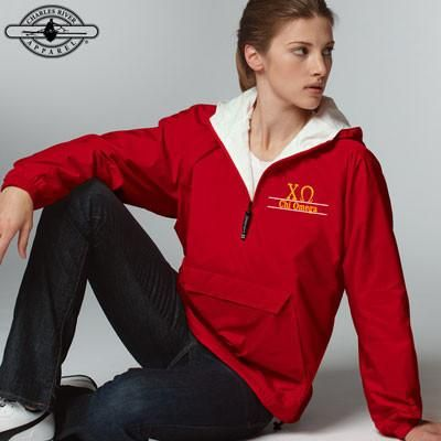 This jacket is perfect for the fall.  It would look so cute with a pair of leggings and riding boots, perfect for when you go pumpkin picking with your sisters!  Click through for purchasing options and to view this and more sorority apparel and merchandise from Something Greek.