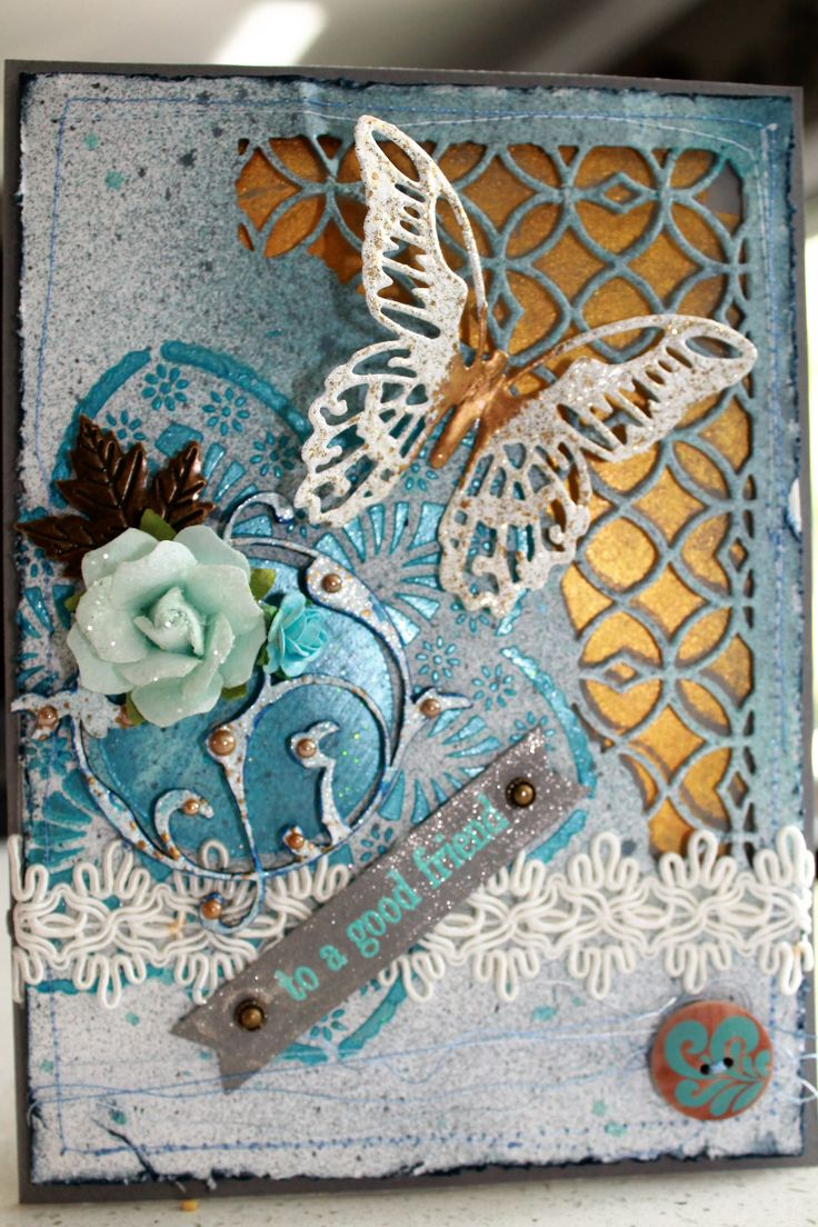 Mixed Media homemade card inspired by pins of Tim Holtz distress dies