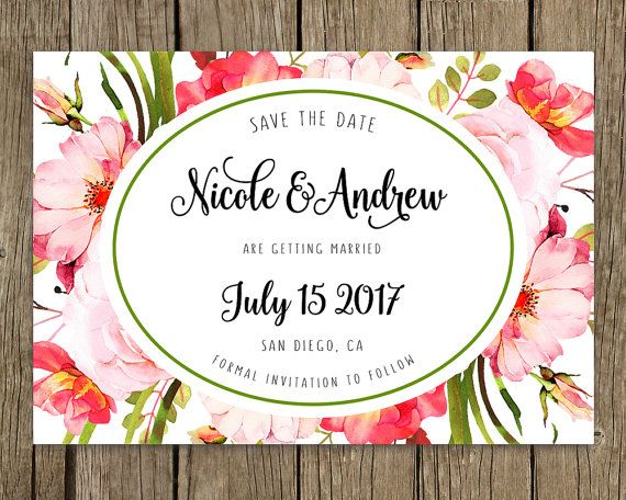 Wedding announcement, Custom template, Personalized, SAVE THE DATE, Watercolor floral boho, Pink flowers, Save the date boho, Wedding card