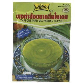 Thaise Pandanpudding Lobo Thaise Pandanpudding is een kant-en-klare mix voor een geliefd Thais dessert gemaakt van pandanblad. De plantenextracten geven de pudding een mooie groene kleur en een notige vanillesmaak. Meng de desertmix met water, even laten koken en in de vormpjes laten afkoelen. Gebruik de heerlijk crème als vulling voor cakes en als lekkere dip voor patongo (Thaise donut). https://www.asianfoodlovers.nl/producten/desserts/thaise-pandanpudding-120-gram