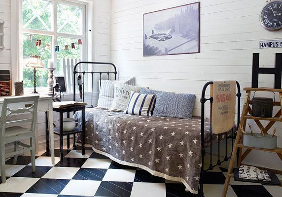 Details: checker board floor, shiplap walls, cool windows, bed frame & more...