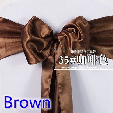 chair sashes,satin sashes,bow tie,brown colour shiny satin chair dinner decoration wedding party hotel bow tie ribbon belt