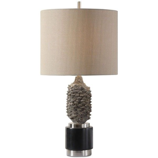 Uttermost Banksia Table Lamp ($290) ❤ liked on Polyvore featuring home, lighting, table lamps, black, uttermost lamps, black lamp, uttermost table lamps, uttermost lighting and onyx lamp