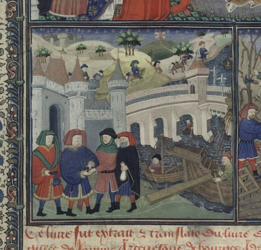 Merchants, De informatione principum (BNF Fr. 126, fol. 7); Cato the Elder, Laelius and Scipio, Cato Major de Senectute (BNF Fr. 126, fol. 123), c. 1450