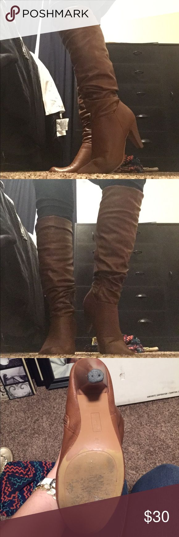 🌺🌺Size 9 (UK 39) Scrunched Knee High Boots Style : Valencia 05. All man made material. Hardly worn.  Missing caps on heels. Can be replaced. Priced accordingly Bamboo Shoes Heeled Boots
