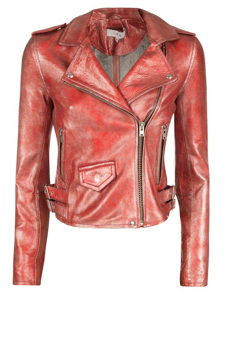 Lamsleren metallic bikerjacket Axelle   rood van IRO op www.littlesoho.com