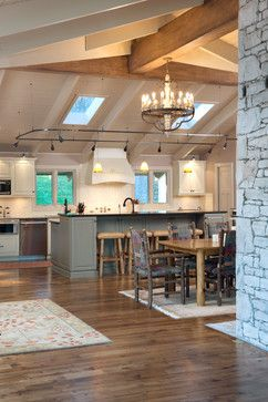 ceiling under the shed roof of kitchen and the lighting touch over the island