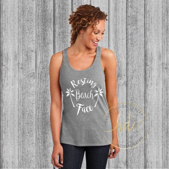 Resting Beach Face Racer Back Tank/Funny by HangerDesignCenter
