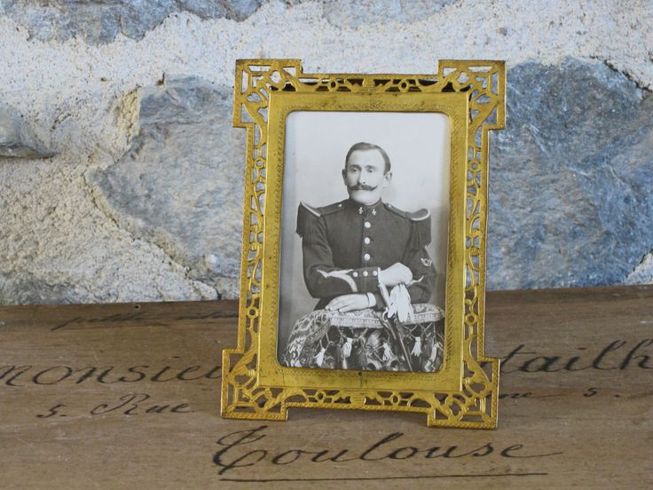 French gilt picture frame with soldier photo, lovely pierced and engraved photo frame circa 1910s by Histoires on Etsy