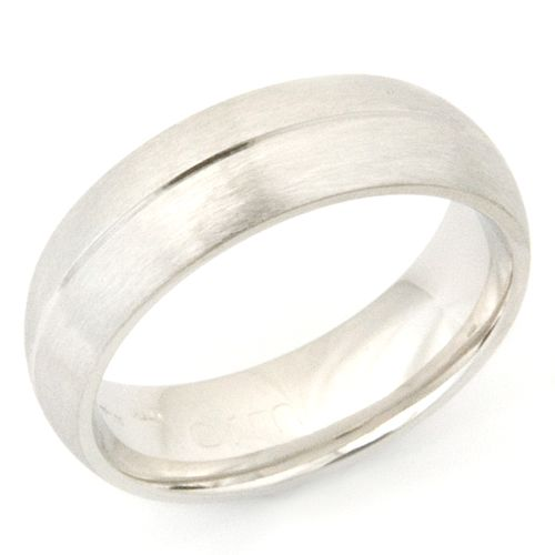 Unique Platinum Wedding Ring with Diamond Cut Line and Brushed Finish Form Bespoke u