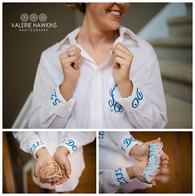 Monogrammed Bride Shirt and lovely details.  Valerie Hawkins Photography