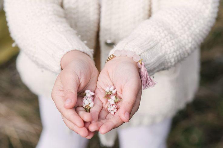 Rose Quartz Toddler Bracelet , Cardigan - Bohème Goods Kids Jewelry, amber necklace kids photoshoot