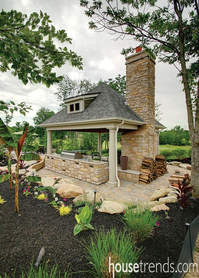 Fireplace helps an outdoor living space stand out