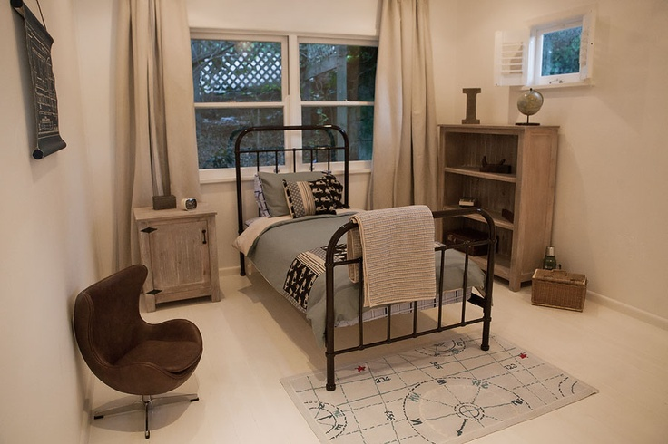 incy interiors oscar bed, jake bookcase, luke side table, leather egg and train blueprint