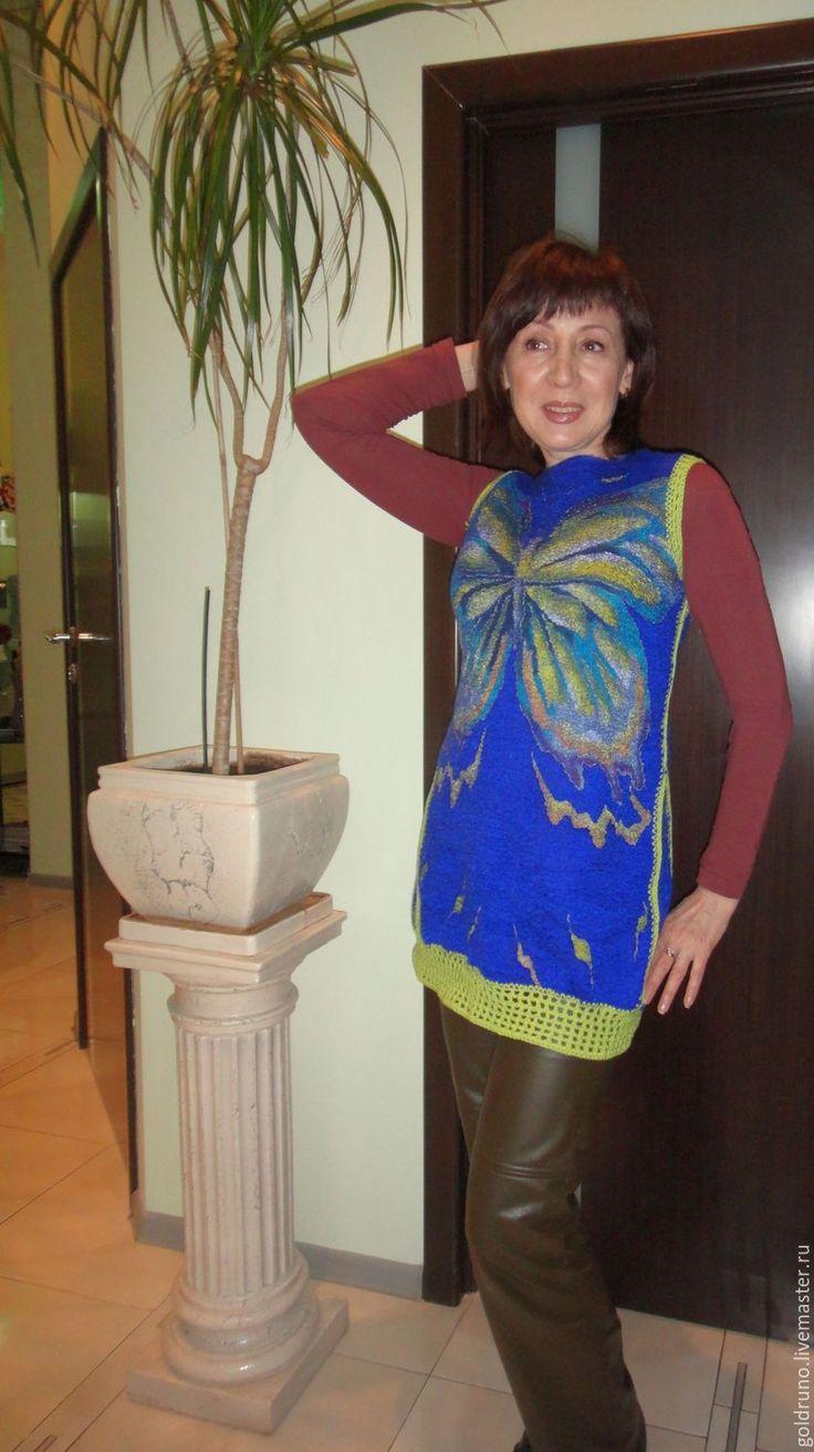 Купить Туника валяная Синяя с бабочкой - васильковый, цветочный, шерсть 100%, валяние из шерсти