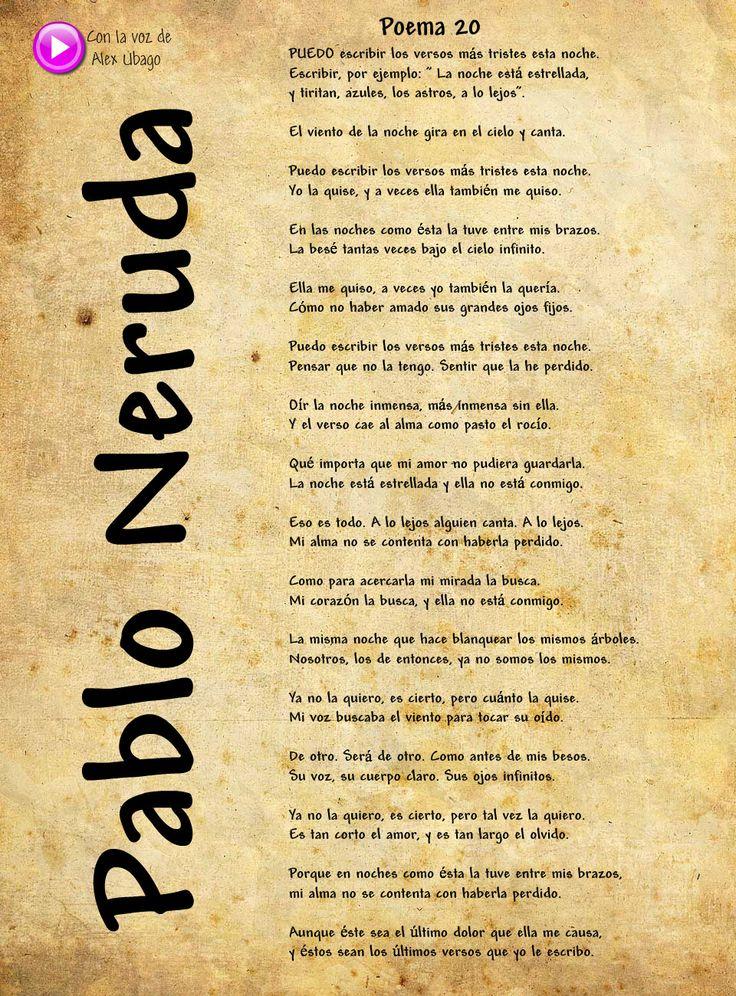 Me encanta esta poema. Uno de mis favoritos de Pablo Neruda! ❤️