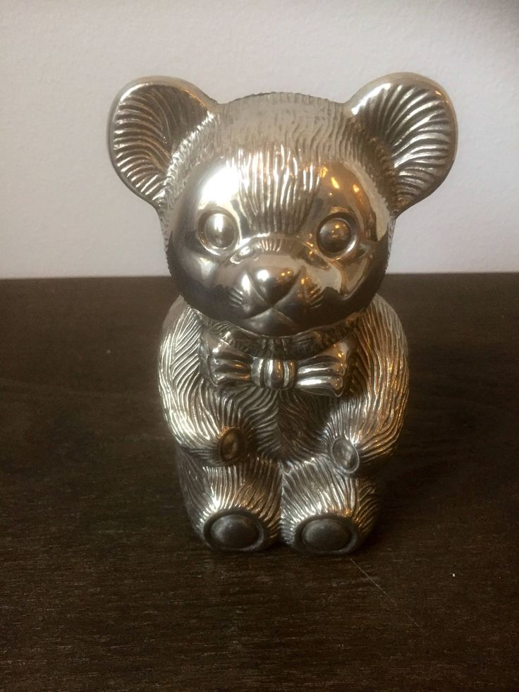 Vintage/bear/coin/bank/silver plated/ metal/ shelfie /Scandinavian /piggy bank by WifinpoofVintage on Etsy