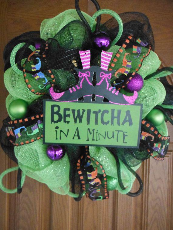 Halloween Deco Mesh Wreath by CareysCraftyCreation on Etsy, $65.00