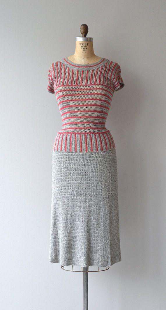 Bodleian knit set 1930s knit dress 30s three-piece by DearGolden