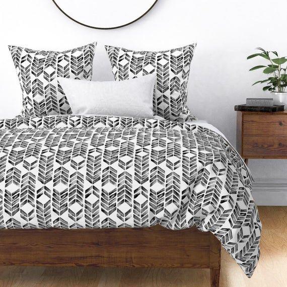 Chevron Duvet Cover Mosaic Black White By Brittany Vogt Modern Home Decor Mosaic Cotton Sateen Duvet Cover Bedding By Spoonflower Chevron Duvet Covers Duvet Covers Duvet