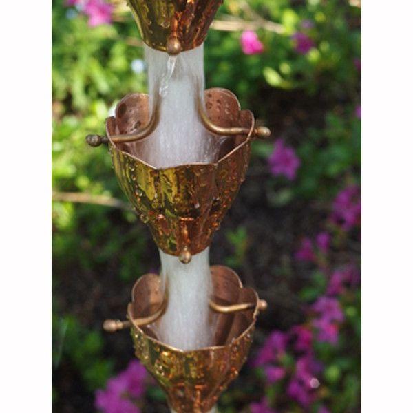 Copper Fluted Cup Rain Chain - Affordable Rain Chains