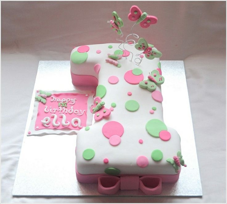 What can be best suited for a first birthday then a number 1 cake? So here is a cute white cake with pink and green polka dots and butterfli...