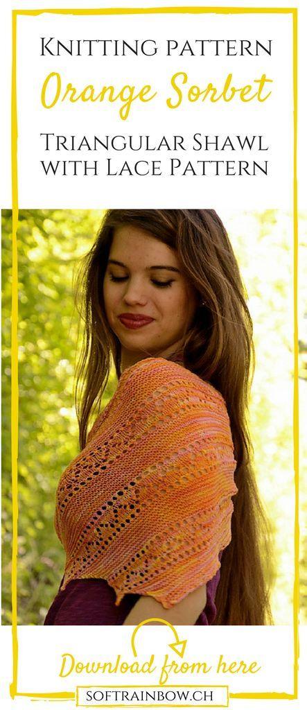 lace shawl knitting pattern, asymmetric, adjustable