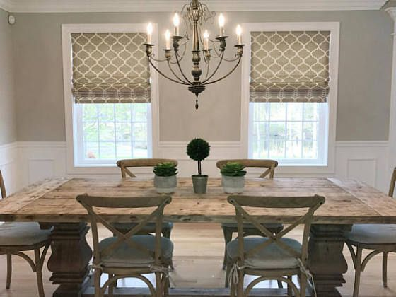 Dining Room Roman Shades White Dining Room Window Treatments