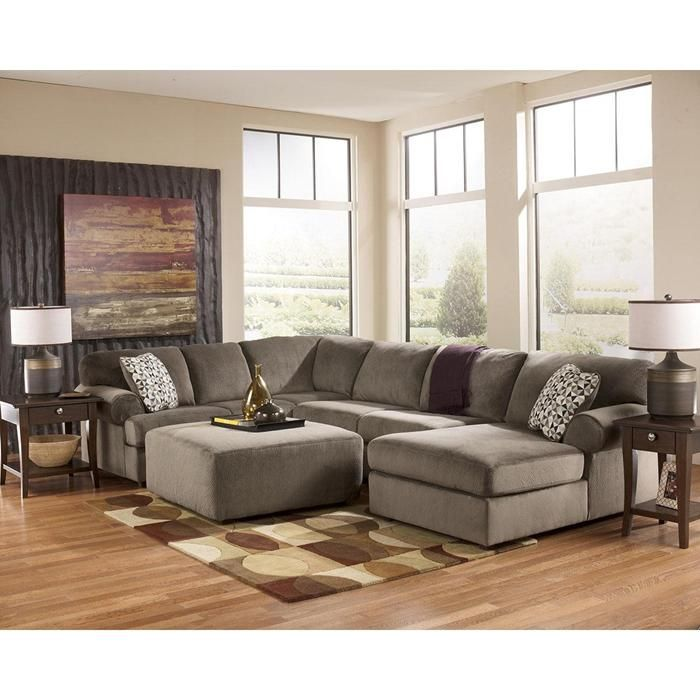 Jessa Place 4 Piece Sectional And Ottoman In Dune